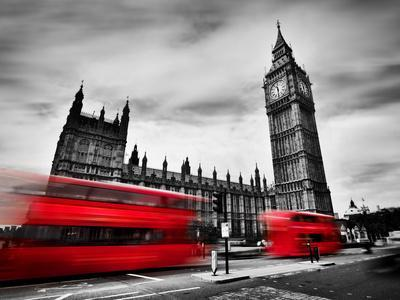 London, the Uk. Red Buses in Motion and Big Ben, the Palace of Westminster. the Icons of England In-Michal Bednarek-Photographic Print