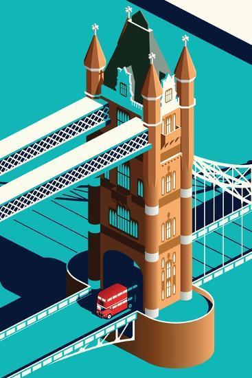 London Tower Bridge and Double Decker Bus Isometric-Nikola Knezevic-Art Print