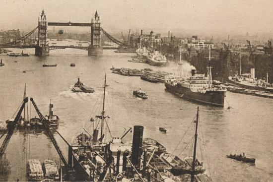'London - Tower Bridge and the Pool', c1910-Unknown-Photographic Print