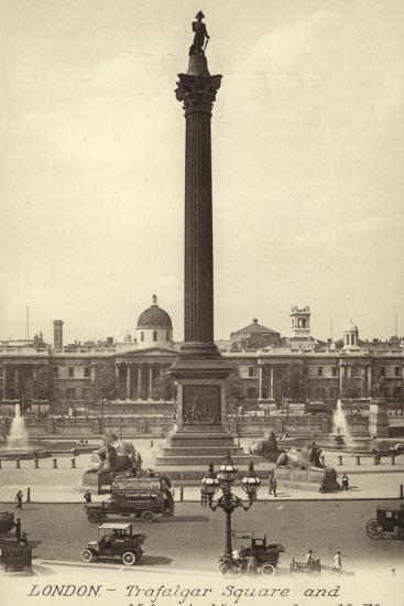 London, Trafalgar Square and Nelson's Monument--Photographic Print