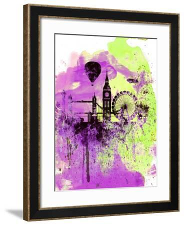 London Watercolor Skyline 1-NaxArt-Framed Art Print