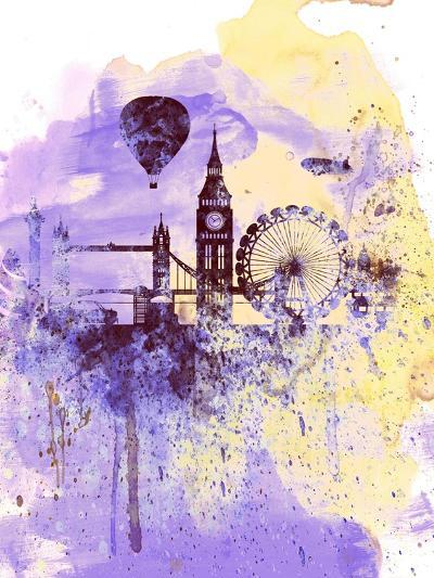 London Watercolor Skyline-NaxArt-Art Print