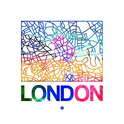 London Watercolor Street Map Art Print by NaxArt | Art com