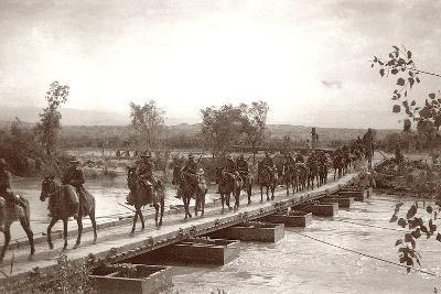 Londoner's Bridge across the The Jordan River with Mounted Anzac Troops Crossing, C.1917-18-Capt. Arthur Rhodes-Photographic Print