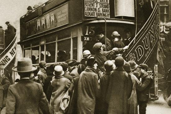 Londoners rushing for a bus on Ludgate Hill, c1920s(?)-Unknown-Photographic Print