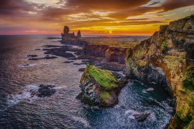 Londrangar Sea Stacks and the Thufubjarg Cliffs. Iceland-Ragnar Th Sigurdsson-Photographic Print