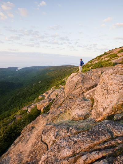 Lone hiker near the summit of Cadillac Mountain, Acadia National Park, Maine, USA-Jerry & Marcy Monkman-Photographic Print