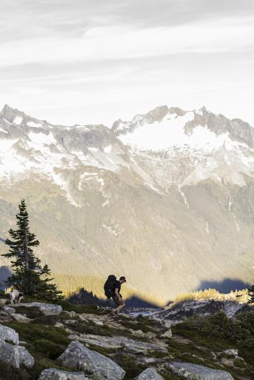 Lone Man Backpacks Down A Ridge In The North Cascades To His Camp-Site In Washington-Hannah Dewey-Photographic Print