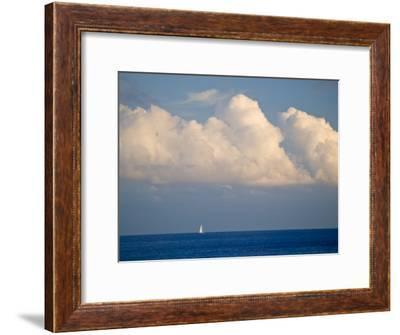 Lone Sailboat Sailing Along the Horizon in France-Michael Melford-Framed Photographic Print