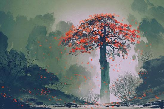Lonely Red Autumn Tree with falling Leaves in Winter Forest,Landscape Painting-Tithi Luadthong-Art Print