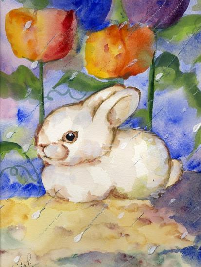 decortive ester ccents easter rabbit decor bunny.htm lonely white bunny rabbit in the tulips   rain art print by sylvia  lonely white bunny rabbit in the tulips