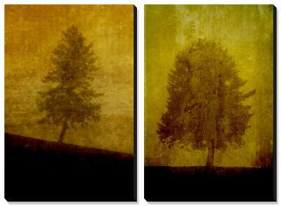 Lonesome Trees on Textured Yellow-Susan Bein-Canvas Art Set