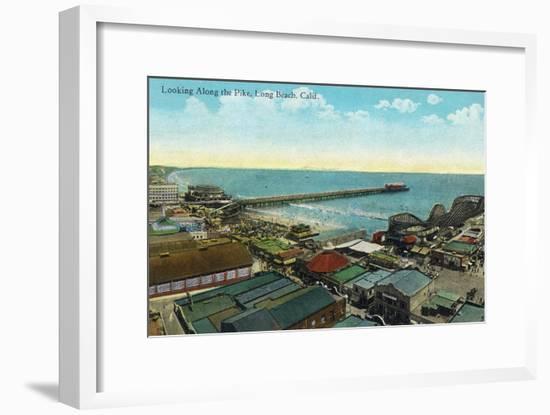 Long Beach, California - Aerial View over the Pike-Lantern Press-Framed Art Print