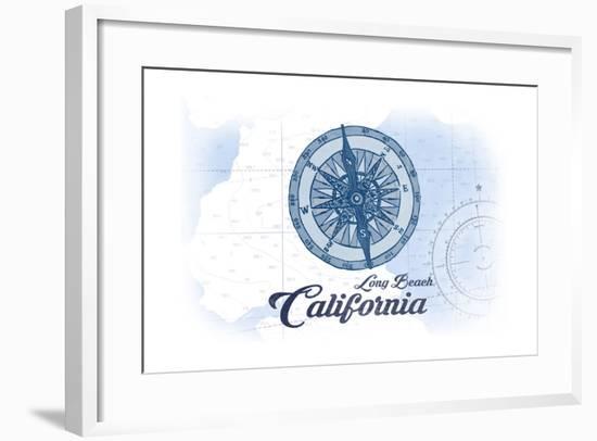 Long Beach, California - Compass - Blue - Coastal Icon-Lantern Press-Framed Art Print