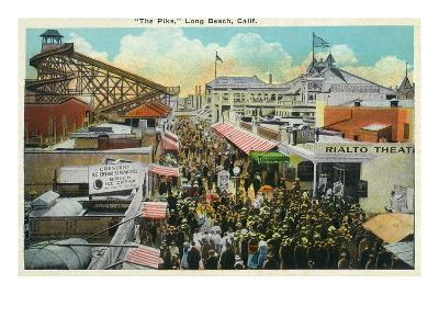 Long Beach, California - Crowds Along the Pike-Lantern Press-Art Print