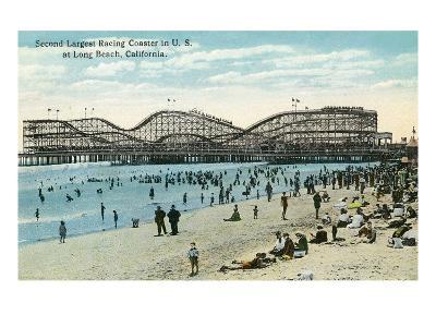 Long Beach, California - Panoramic View of the Roller Coaster-Lantern Press-Art Print
