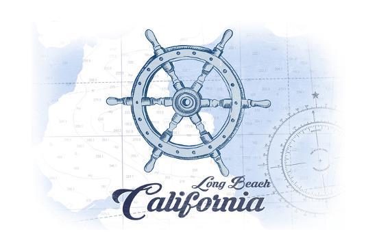 Long Beach, California - Ship Wheel - Blue - Coastal Icon-Lantern Press-Art Print