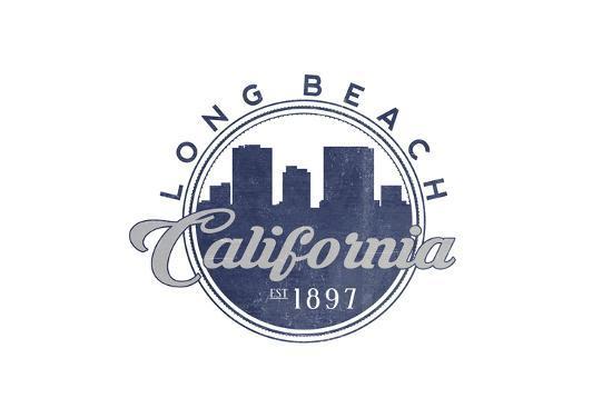 Long Beach, California - Skyline Seal (Blue)-Lantern Press-Art Print