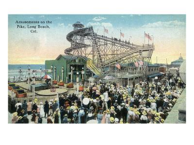 Long Beach, California - View of Amusement Rides Along the Pike-Lantern Press-Art Print