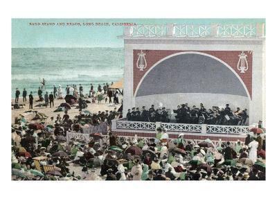 Long Beach, California - View of the Band Stand and Beach-Lantern Press-Art Print