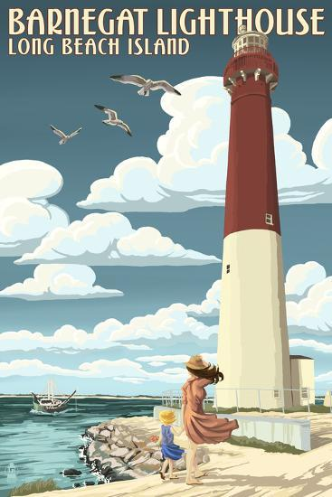 Long Beach Island - Barnegat Lighthouse-Lantern Press-Art Print