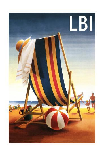 Long Beach Island - Beach Chair and Ball-Lantern Press-Art Print