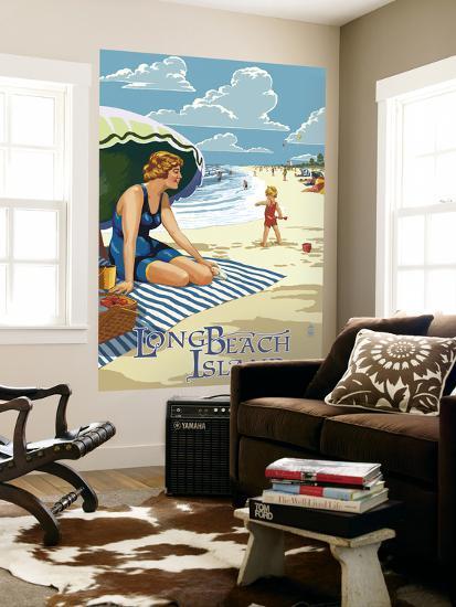 Long Beach Island, New Jersey Beach Scene-Lantern Press-Wall Mural