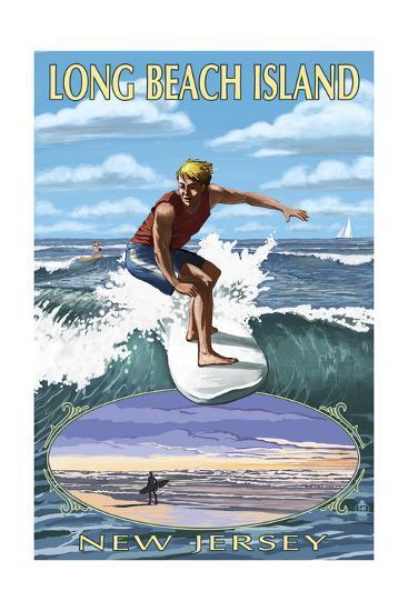 Long Beach Island, New Jersey - Day Surfer with Inset-Lantern Press-Art Print
