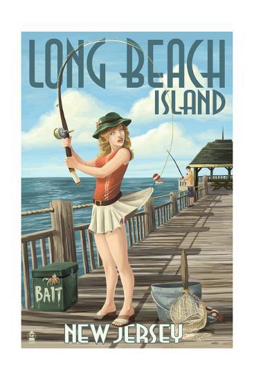 Long Beach Island, New Jersey - Fishing Pinup Girl-Lantern Press-Art Print