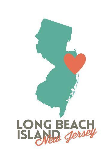 Long Beach Island, New Jersey - Orange and Teal - Heart Design-Lantern Press-Art Print