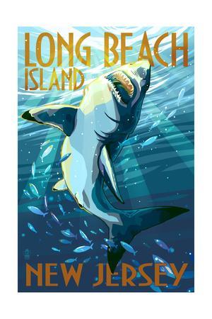Long Beach Island New Jersey Stylized Shark Art Print By Lantern Press