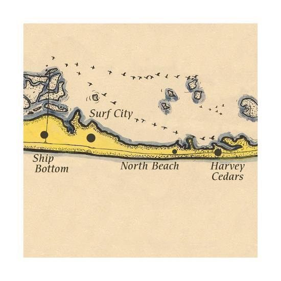 Long Beach Island, New Jersey - Vintage Map (square) 3 of 4-Lantern Press-Art Print