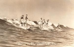 Long Board Surfers off California