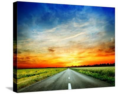 Long Country Road to Sunset--Stretched Canvas Print