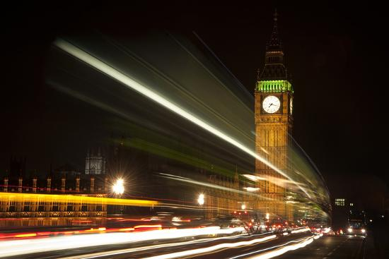 Long Exposure Lights from Traffic Big Ben London at Night-Veneratio-Photographic Print