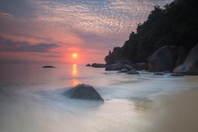 Long Exposure of a Colorful Sunrise Above Praia Do Cedrinho Beach-Alex Saberi-Photographic Print
