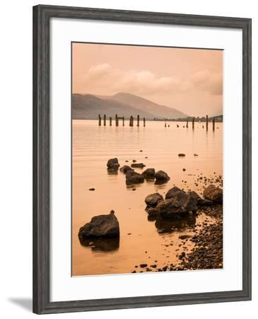 Long Exposure of a Scottish Loch and Jetty. the Mountains of the Trossachs Surround the Loch-Alan Hill-Framed Photographic Print