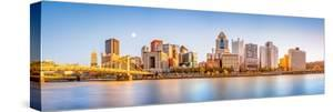 Long Exposure of Pittsburgh Downtown Skyline and Roberto Clemente Bridge, on a Sunny Afternoon, as