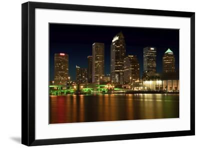 Long exposure of the skyline of Tampa at night along the Hillsborough River-Sheila Haddad-Framed Photographic Print