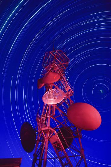 Long-exposure star trails behind a communications tower, Steptoe Butte, Washington State-Stuart Westmorland-Photographic Print