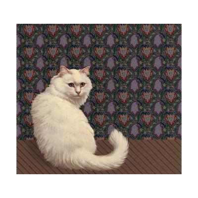 Long Haired White Cat--Art Print