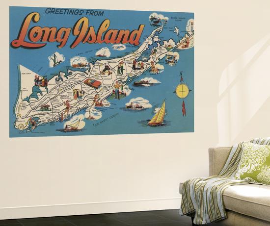 Long Island, New York - Greetings From-Lantern Press-Wall Mural