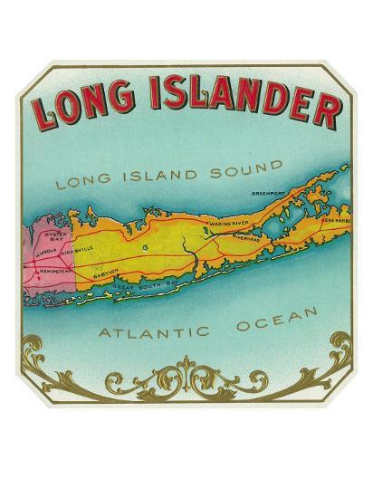 Long Islander Brand Cigar Box Label-Lantern Press-Art Print
