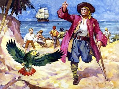 Long John Silver and His Parrot-James Edwin Mcconnell-Giclee Print