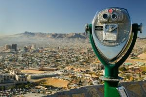 Long range binoculars for tourists and panoramic view of skyline and downtown of El Paso Texas l...