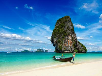 Long Tail Boat on Tropical Beach with Limestone Rock, Krabi, Thailand-f9photos-Photographic Print