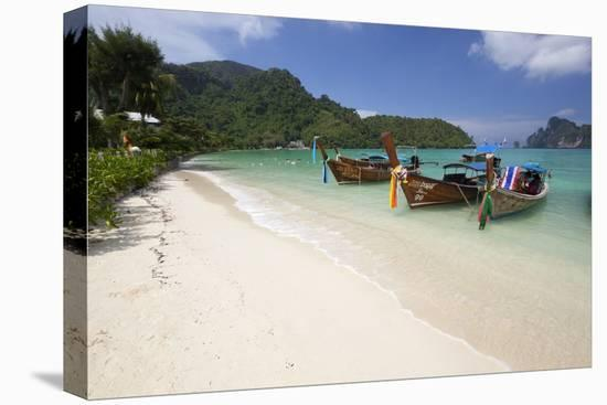 Long-Tail Boats and Beach of Ao Dalam Bay-Stuart Black-Stretched Canvas Print