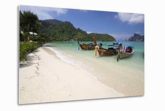 Long-Tail Boats and Beach of Ao Dalam Bay-Stuart Black-Metal Print