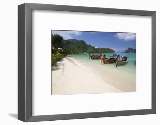 Long-Tail Boats and Beach of Ao Dalam Bay-Stuart Black-Framed Photographic Print