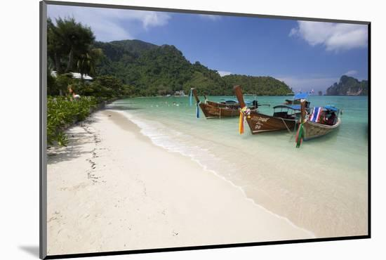 Long-Tail Boats and Beach of Ao Dalam Bay-Stuart Black-Mounted Photographic Print